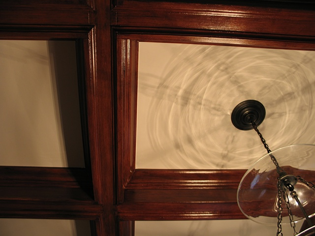 Faux mahogany coffered ceilng