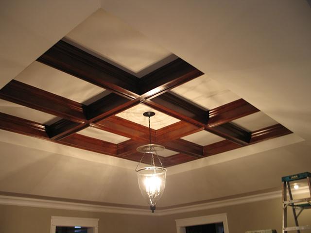 New beams painted to resemble mahogany