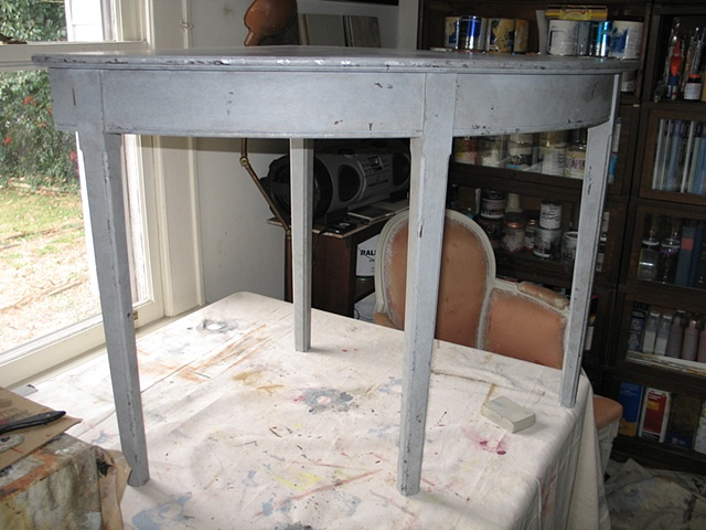 Custom made table painted and distressed