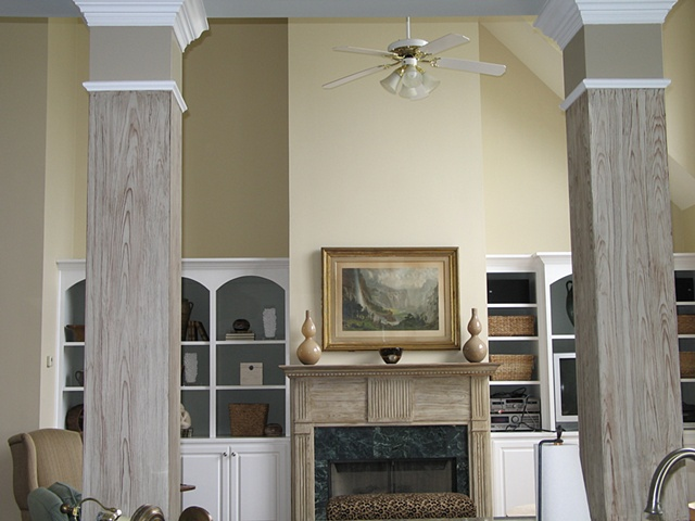 Faux pine mantle and piers