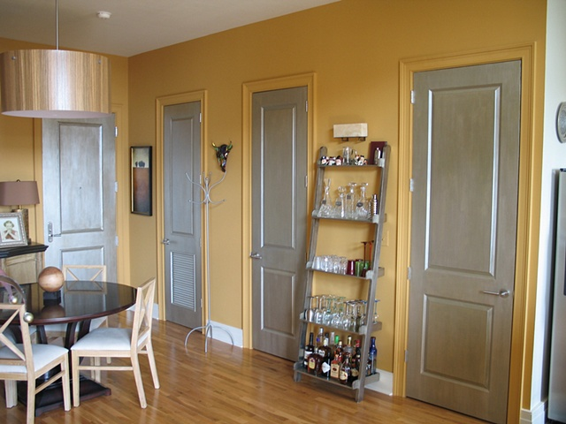 Brushed silver doors