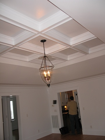 New ceiling before faux mahogany paint finish