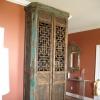 Distressed faux elm cabinet