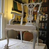Mahogany dining chairs painted and distressed.