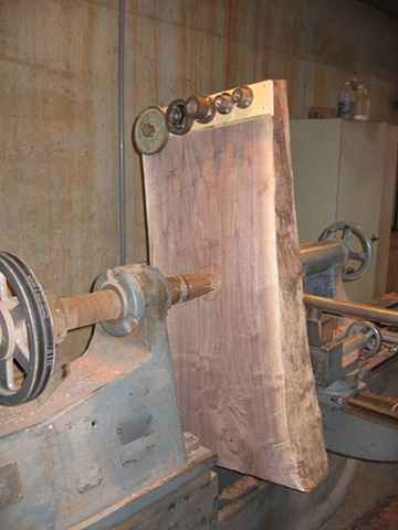 """Untitled (291)"" on the lathe with counterweights"