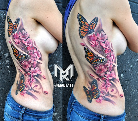 Cherry Blossom & Monarch Tattoo