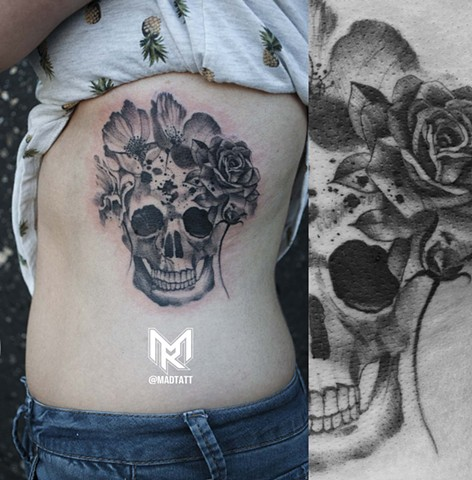 Watercolor Flowers and Skull