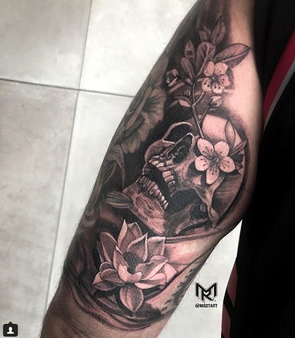 Skull and Cherry Blossom with Lotus