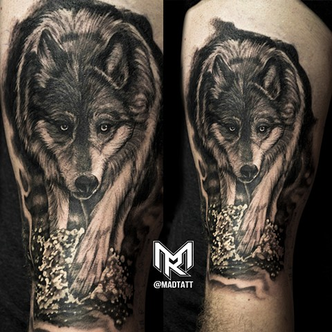 Custom Wolf tattoo
