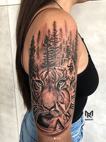 Tiger Portrait, Clock and Forest