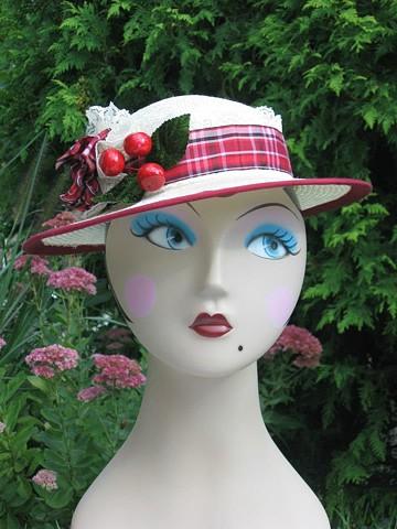 Cherries jubiliee breton hat