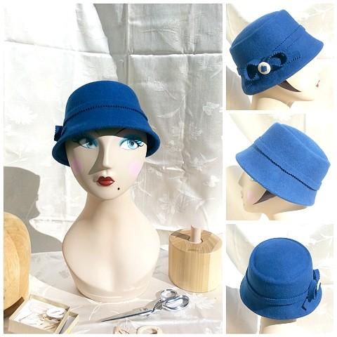 Blue Bow Cloche