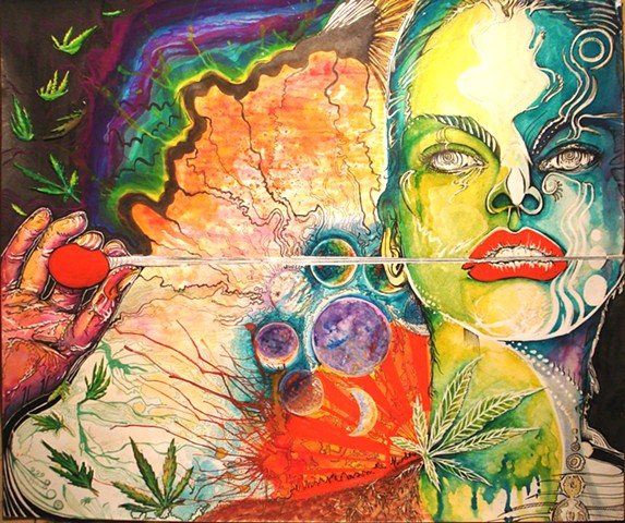 psychedelic, female, earth, moon, illustration, drawing