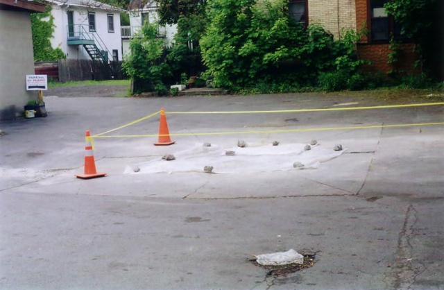 Cones in parking lot.  Ithaca, NY.