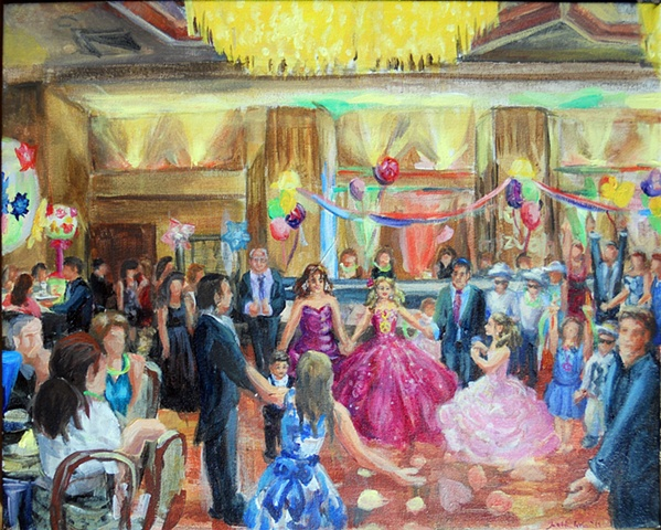 Final painting: Gabrielle's Bat Mitzvah: completed with more detailed family portraits in the studio