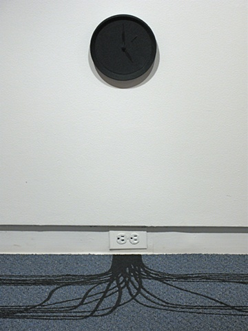 Sandra Eula Lee, Closing Time, asphalt, clock, office carpet