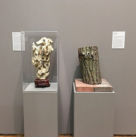 "Installation view at the Allen Memorial Art Museum: ""Jimenqiao Village"" on view with a Taihu scholar rock from the museum collection"