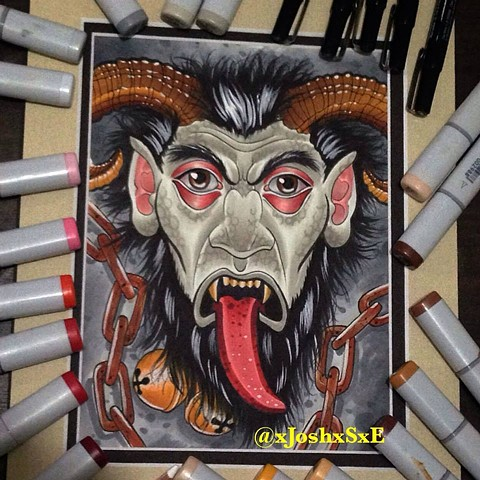 Krampus Copic markers