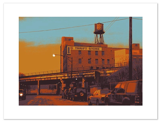 Screen print of Grand Avenue at Union -- Chicago's River West neighborhood