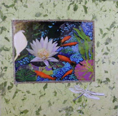 "Collage #6  ""White Lily with Koi"""