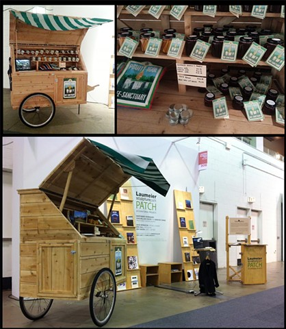 wooden cart, bee related products Installation at EXPO Chicago