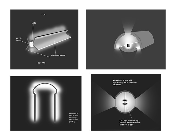 NOMA underpass concept sketches for lighting fixtures