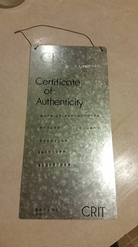 "CRIT plaque we made for internet market table ""certificate of authenticity"""