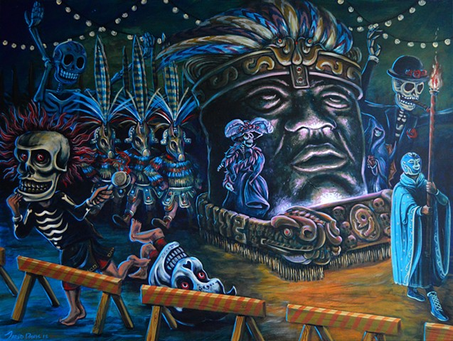 Painting of a giant olmec head in a parade