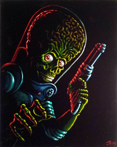 Mars Attacks Alien Painted on Black Velvet
