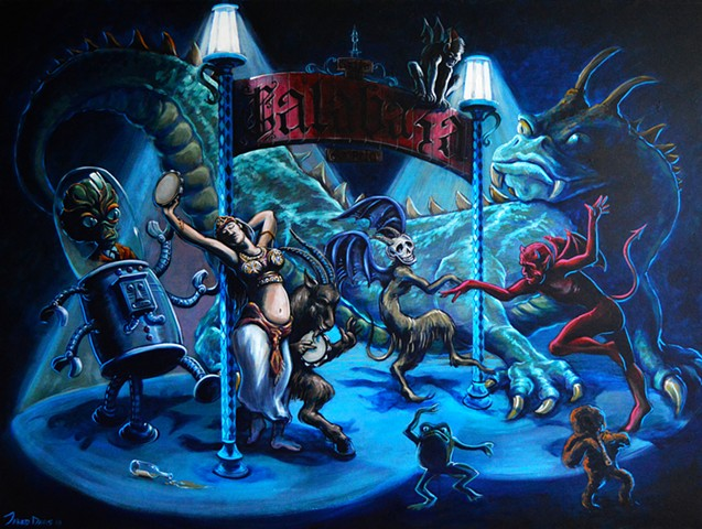 Painting of a group of demons dancing around light poles