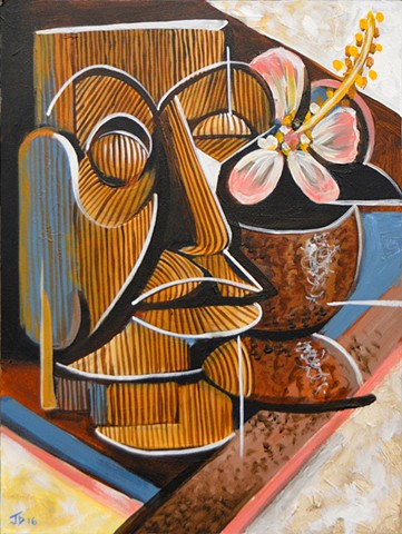 Cubist Tiki Still Life with Coconut Mug