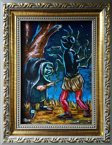Painting of a witch casting a spell on a man turning him into a half ant
