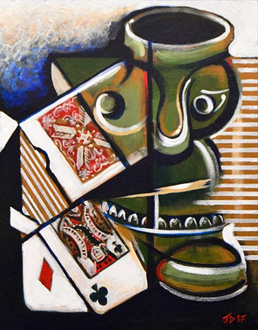 Cubist Tiki Still Life with Deck of Cards