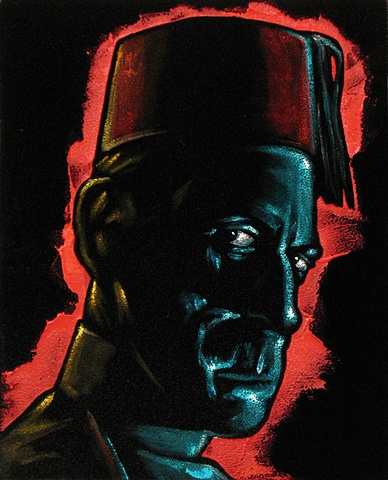 Black Velvet Painting of a sinister looking man in a fez
