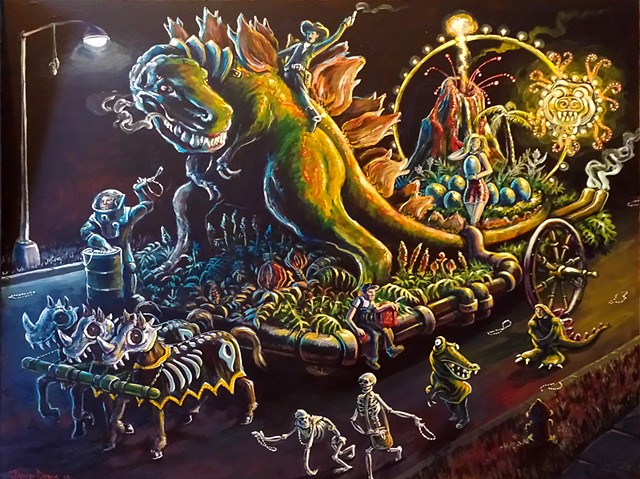 Painting of a Parade with a T-Rex