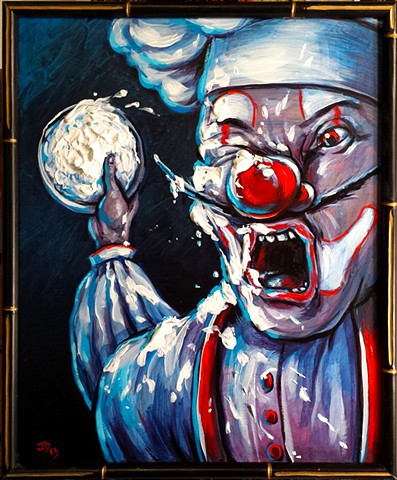 Painting of a pie throwing clown