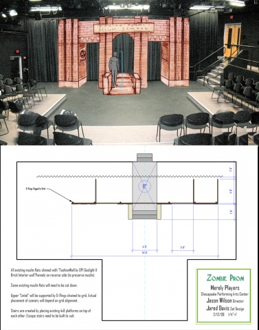 Set Sketch and Floorplan for Zombie Prom, Merely Players