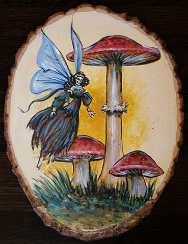 Painting of a fairy and mushrooms