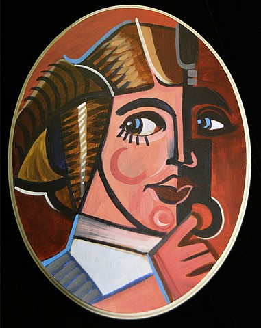 "Princess Leia  14"" x 11"" Acrylic on Wood Oval"