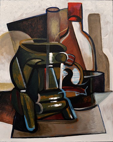 Cubist Tiki Still Life with Rum Bottle