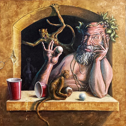 Bacchus Playing Beer Pong with Monkeys Painting