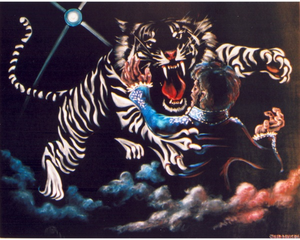 White Tiger Attacking Roy (sold)
