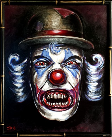 Creepy Clown Painting with bared teeth and bowler hat