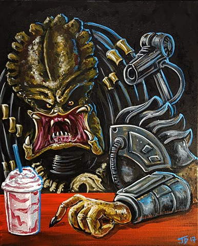 Painting of the Predator drinking a girly drink