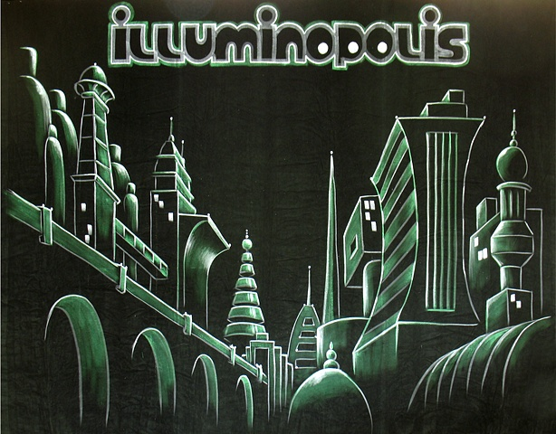 Illuminopolis at night, a Futuristic city backdrop for a Burlesque show