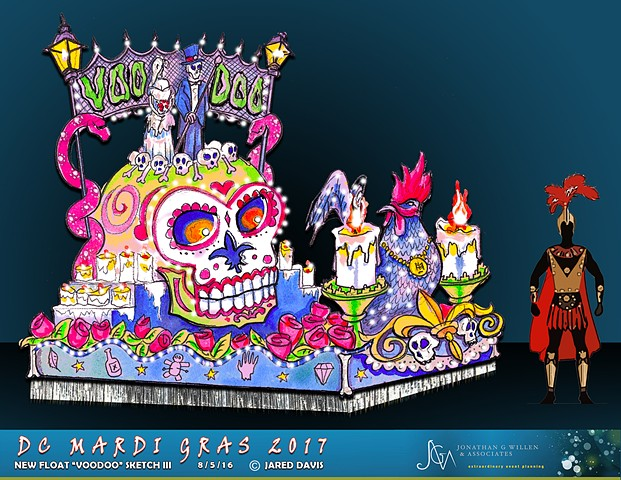 Watercolor rendering of the design for a mardi gras parade float