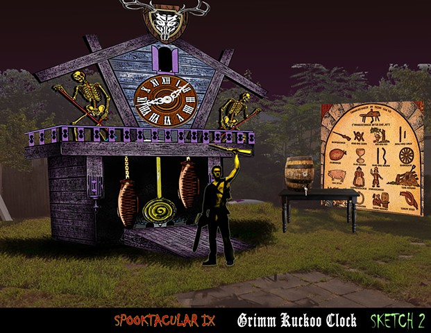 Design of a giant Cuckoo clock for Halloween Party