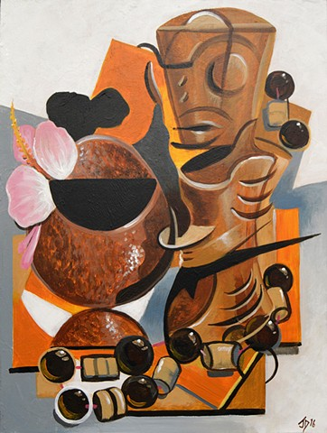 Cubist Tiki Still Life with Coconut Mug and Necklace