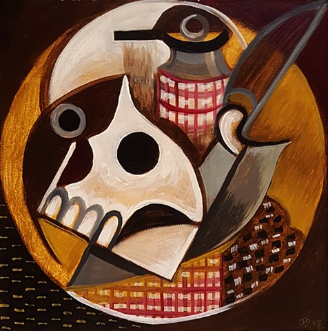 Cubist painting of Yorick from Shakespere's Hamlet