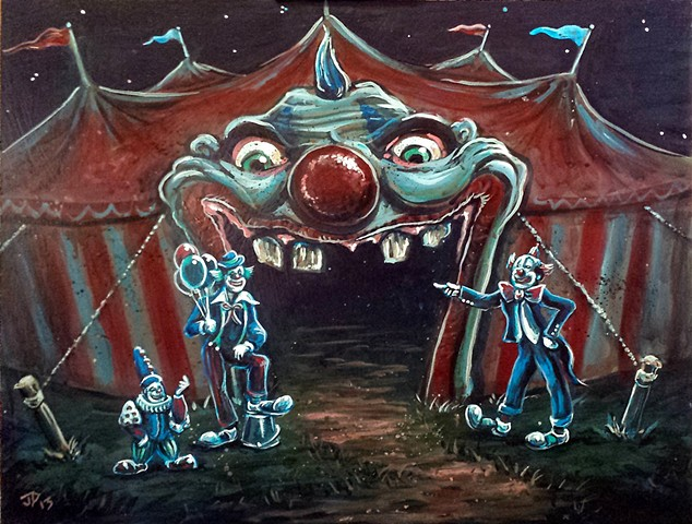 Painting of three clowns welcoming the viewer into a creepy circus tent with an evil clown portal